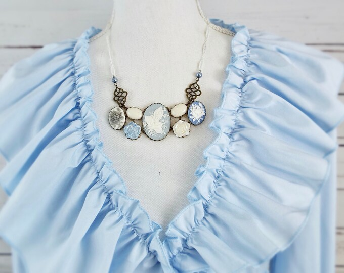 Lily of the Valley Bridal Necklace - Blue & White Cameo Filigree Victorian Bib - Vintage Unique Bride - May Birth Month Flower