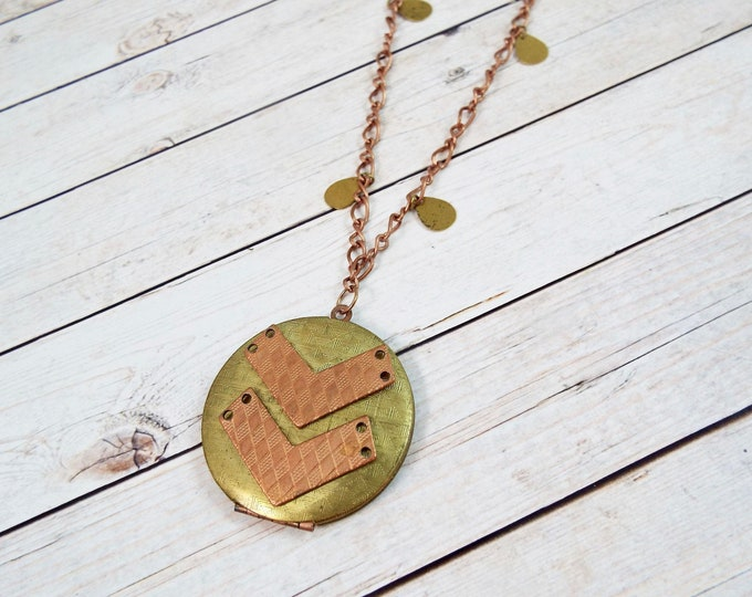 Round Rustic Chevron Raw Brass & Copper Photo Locket Pendant Long Necklace - Geometric Jewelry - Vintage Charm Chain, One Of a Kind