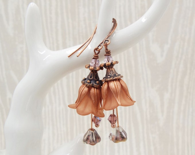Rose Gold & Antiqued Copper Taupe Tulip Flower Earrings - Dusty Rose