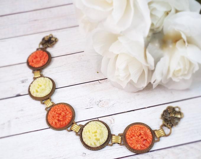Vintage Art Deco Pumpkin Spice Ivory  Carved Bracelet