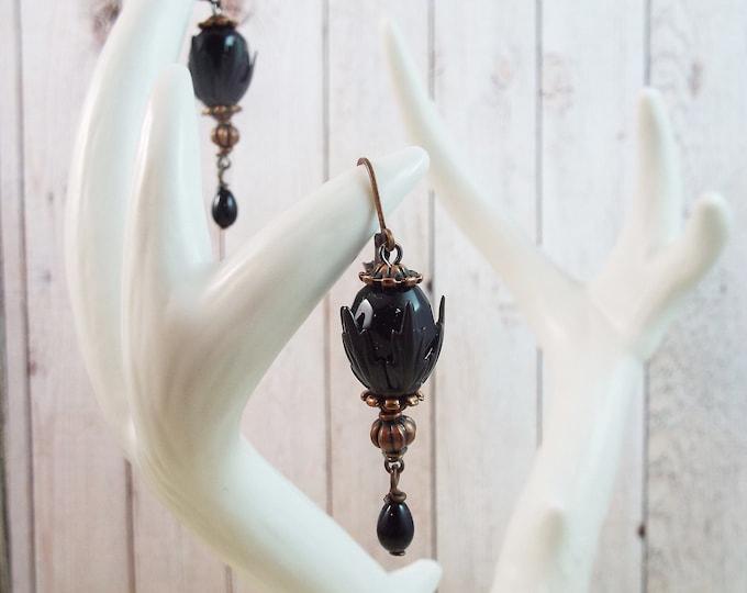 Antique Copper Black Victorian Drop Earrings - La Patine Du Temps
