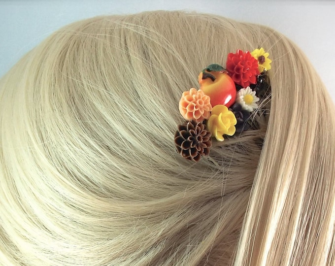 Autumn Mums Apple Floral Hair Comb - Vintage Hair Accessory - Fall Wedding, Back To School