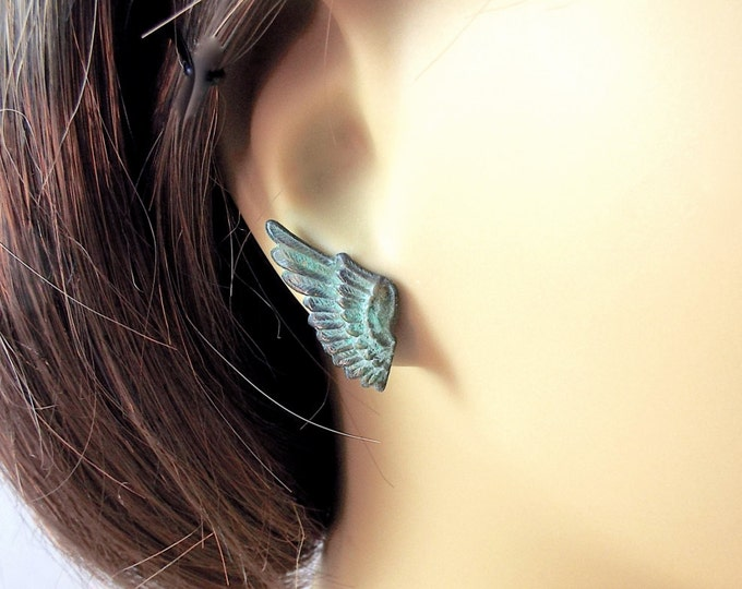 Raven Wing Post Stud Earrings Ear Crawlers - Mercury
