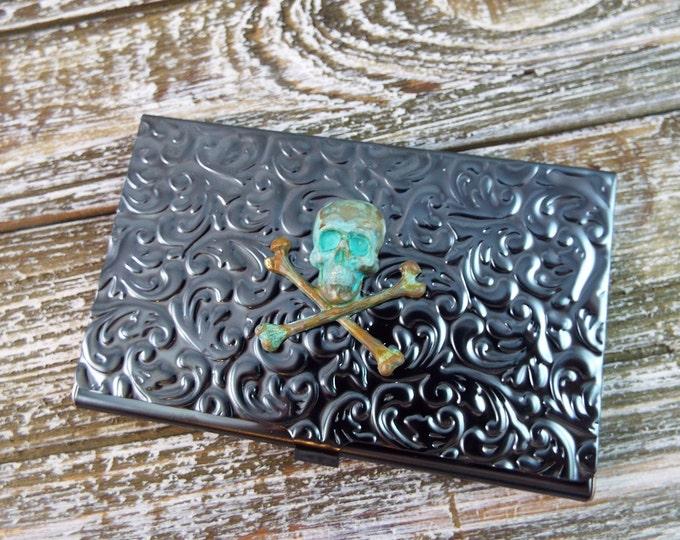 Rustic Patina Verdigris Skull Embossed Metal Card Holder Wallet - Men's Accessorries by Split Personality