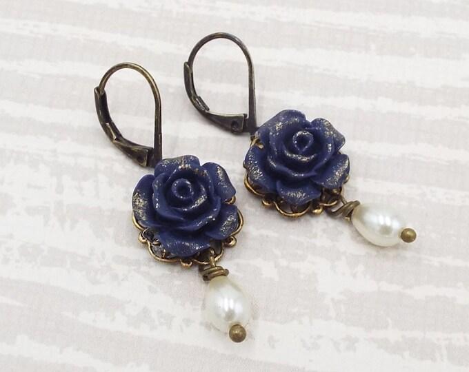 Navy Blue Gilt Rose Pearl Bridal Earrings