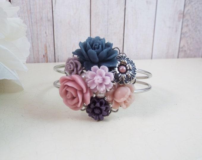 Flower Floral Collage Bridal, Bridesmaid, Mother of Bride Groom Bracelet - STARDUST - Custom Grape Juice, Sugared Plum, Iris Mauve, Steel