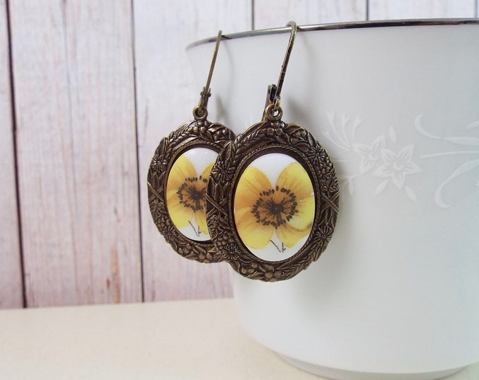 Autumn Flower Buttercup Cameo Yellow Earrings - Rustic Bronze Antiquity by SPDJewelry