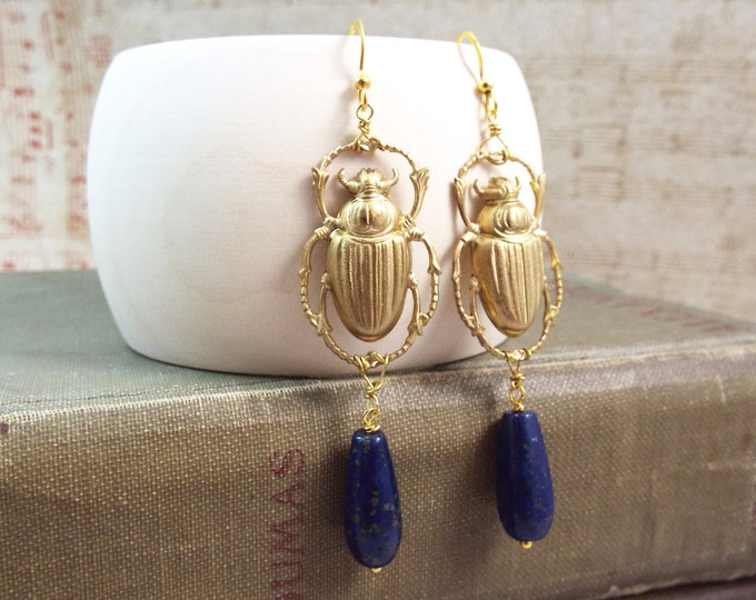 Egyptian Scarab Beetle Lapis Drop Earrings - Isis - Split Personality Designs