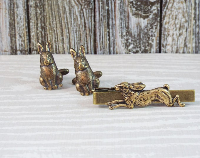 Bronze Rabbit Tie Bar Clip Cuff Links - Watership Down