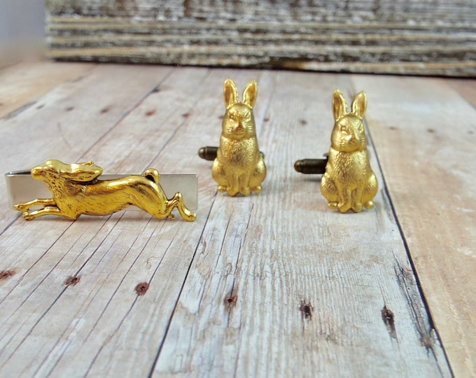 Brass Rabbit Tie Bar Clip Cuff Links - Watership Down - Men's Accessorries by Split Personality