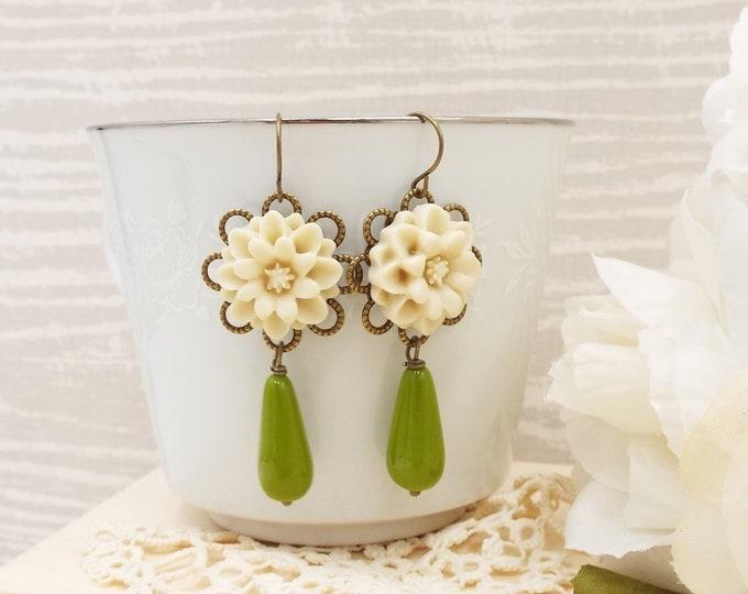 Olivine & Ivory Flower Long Drop Earrings