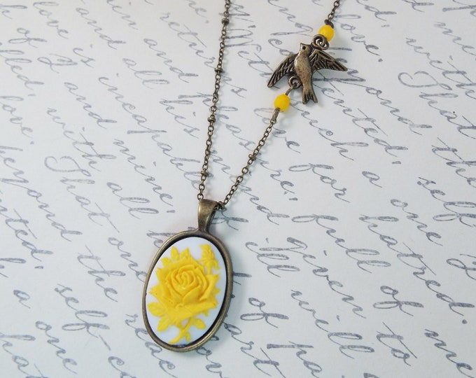 Victorian Saffron Yellow Bird Cameo Necklace - Split Personality Designs