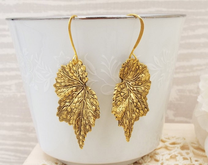 Gold Leaf Leaves Frond Dangle Earrings