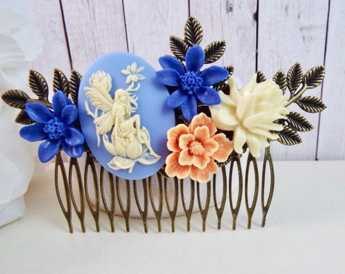 Periwinkle Blue Peach Ivory Water Lily Flower Fairy Comb, Bridesmaid Gifts, Festival Bridal Hair Accessory, Fern Leaf Hair Piece