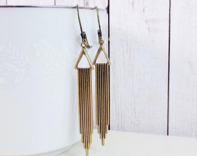 Modern Bronze Art Deco Swag Geometric Earrings - Triangle Swag Great Gatsby Earrings - Gift for Wife Mom Sister Girlfriend