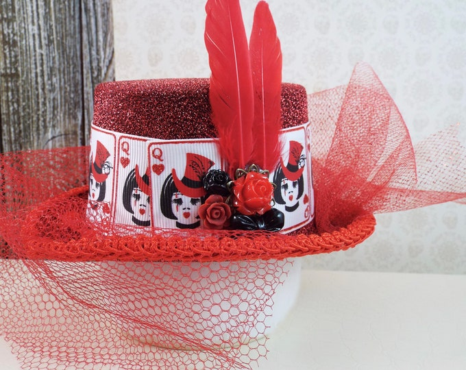 Queen of Hearts Fascinator Mini Top Hat - Red Queen Halloween Valentines Day Costume - Whimsical Millinery Cage Veil Glitter Crown Cosplay