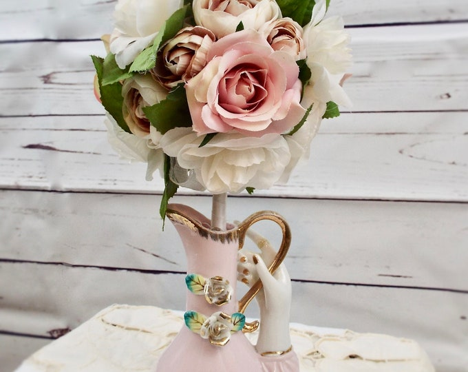Antique Victorian Lady Hand Porcelain Vase Wedding Pitcher Flower Floral Home Decor Centerpiece Nursery Bedroom - Blush, Mauve, Rose
