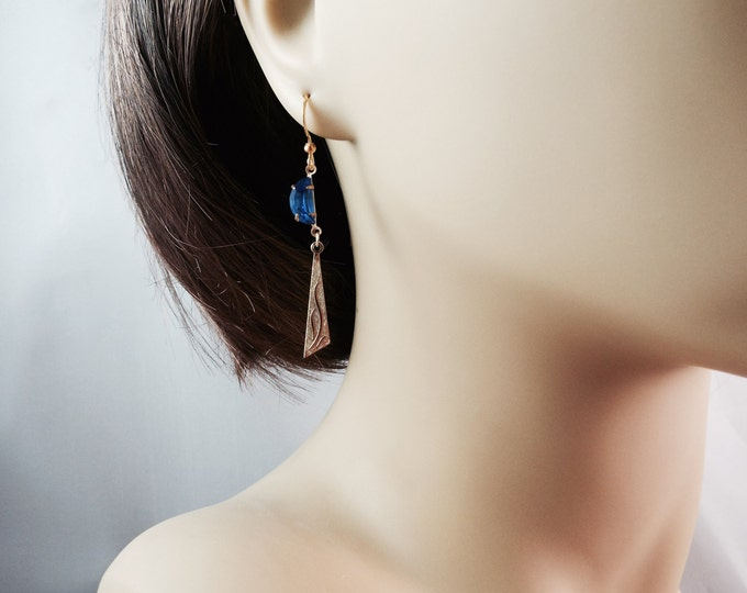 Gold Egyptian Blue MoonEarrings - Modern Primitive - Split Personality Designs