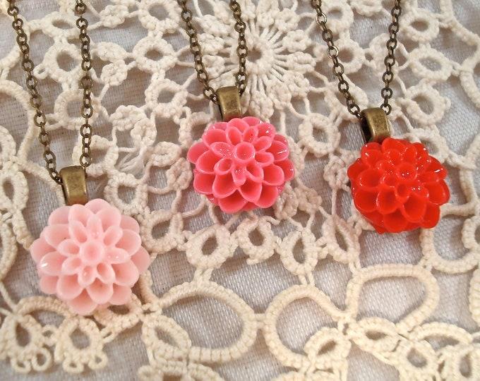 Customized Dahlia Mum Necklace - Bridesmaid Flower Girl Pendant - Vintage Wedding Custom Rustic Jewelry - Inspirational Valentines Day