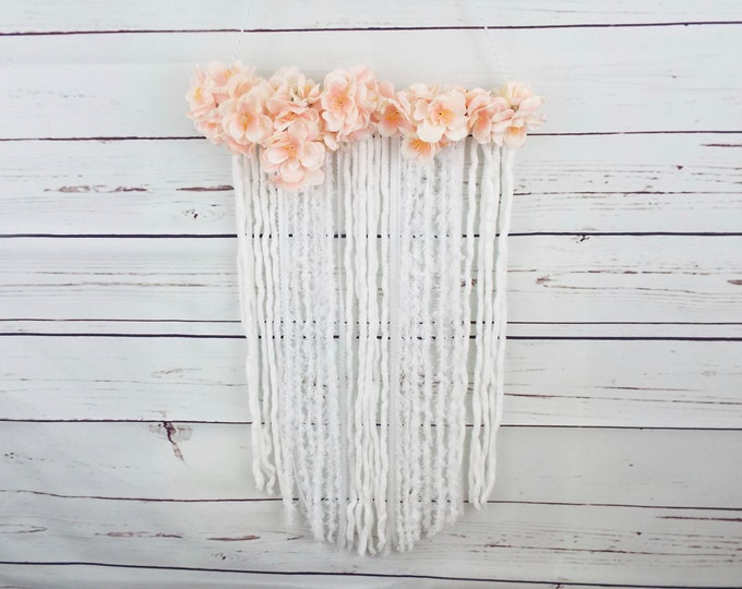Pink & White Dream Catcher Floral Wall Hanging