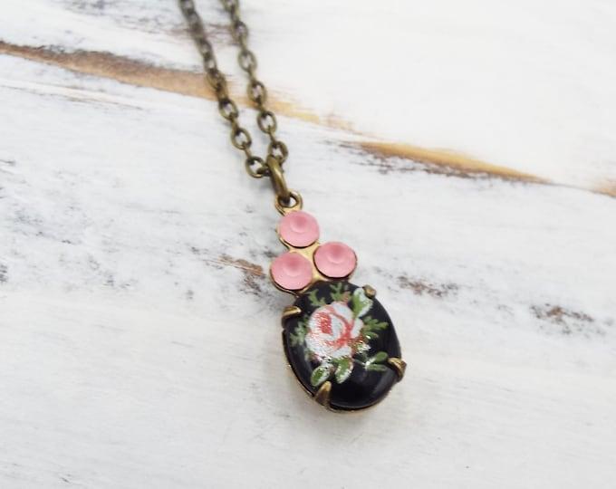 Dainty Vintage Black Pink Rose Glass Pendant