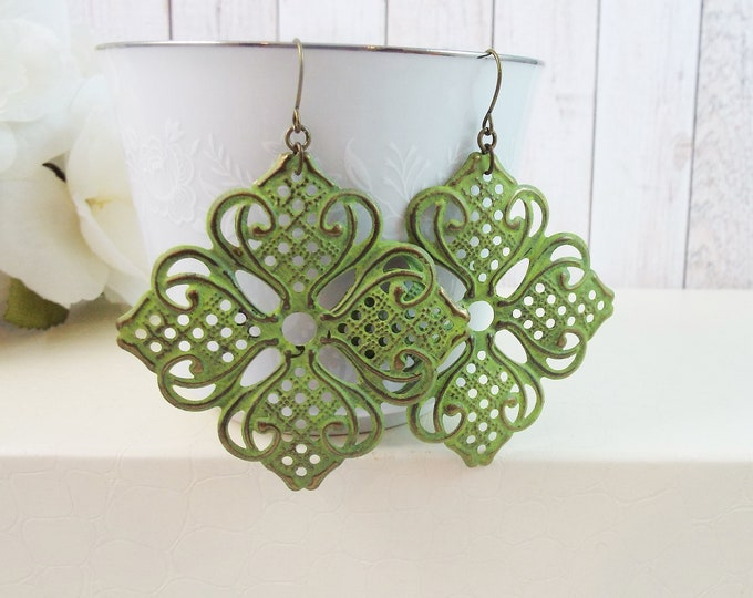 Large Sage Moss Green Filigree Statement Earrings - Moroccan Clover