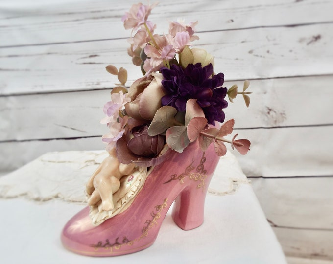 Vintage Cherub Shoe Vase Purple Mauve Wedding Party Flower Floral Home Decor Centerpieces Nursery Bedroom - Boudoir Accessories