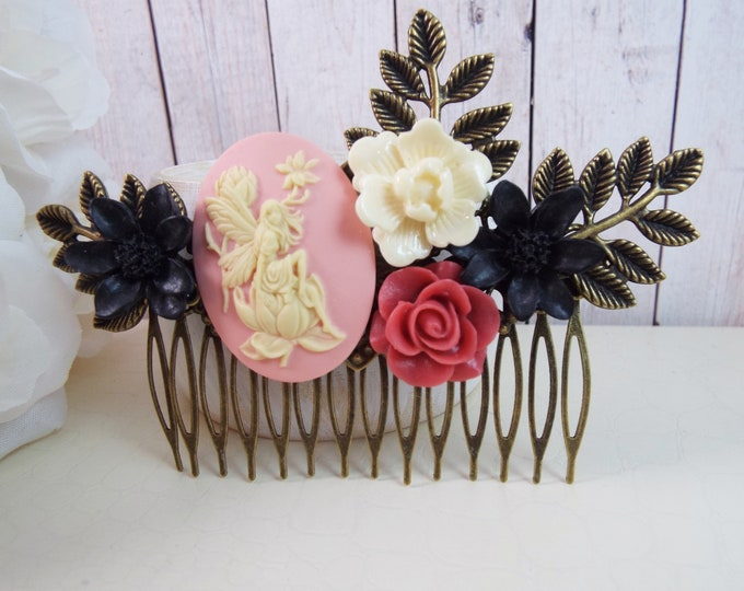 Pink Rose Black Ivory Water Lily Flower Fairy Comb, Bridesmaid Gifts, Festival Bridal Hair Accessory, Fern Leaf Hair Piece