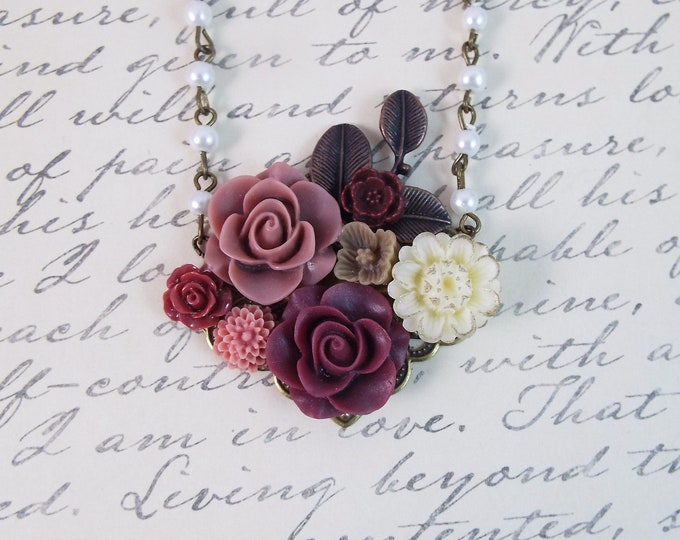 Vintage Merlot Flower Floral Collage Necklace