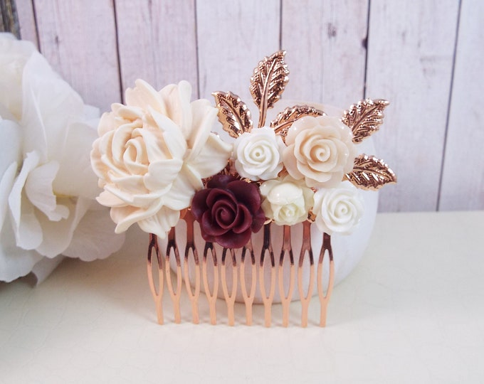 Rose Gold Blush, Burgundy, White Floral Spray Hair Comb