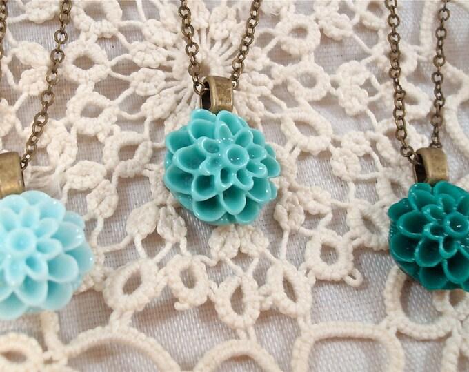 Customized Dahlia Mum Necklace - Bridesmaid Flower Girl Pendant - Vintage Wedding Jewelry Custom Rustic - Inspirational