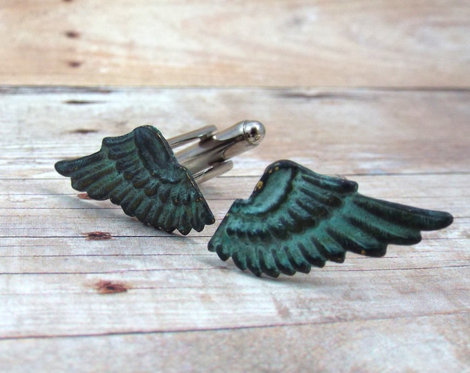 Verdigris Patina Wing Cufflinks - Mercury - Men's Accessories by Split Personality