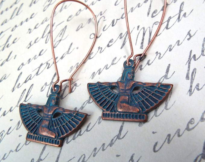 Copper Patina Isis Dangle Earrings - Goddess Jewelry - Split Personality Designs
