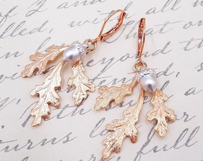 Rose Gold Oak Leaf Silver Acorn Earrings