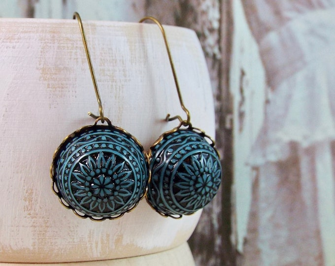 Teal Black Tribal Bronze Earrings - Geometric Bohemian BOHO Jewelry