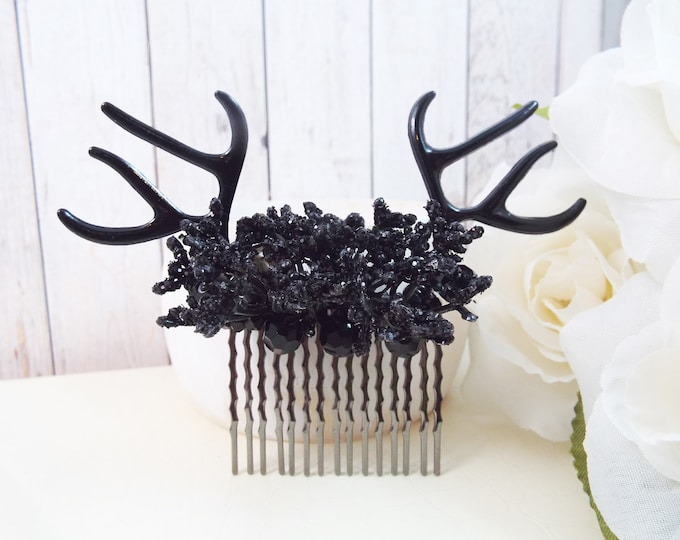 Dark Queen Deer Antler Comb Fascinator - Midnight Black - Woodland Goddess