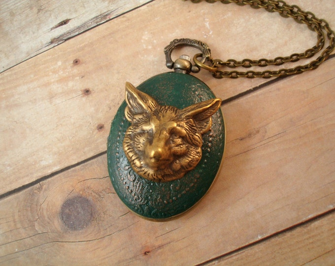 Steampunk Pocket Watch Necklace Forest Green - Fox - Accessories by Split Personality Designs