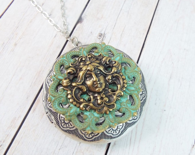 Art Nouveau Locket Large Round Brass Picture Pendant Layering Necklace Vintage Patina Filigree - Forest Spirit, Skogsrå - SPDJewelry