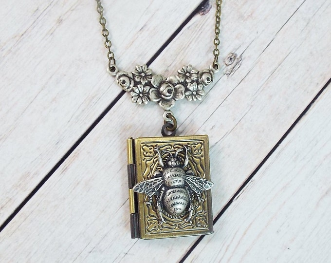 Bumble Bee Book Locket Square Brass Picture Pendant Layering Necklace Vintage Style Antiqued Floral Filigree - Gift Inspirational Jewelry