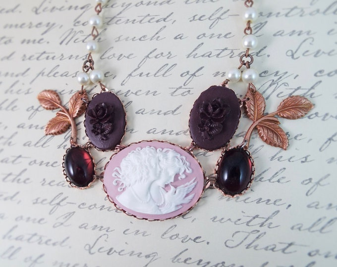 Rose Gold Burgundy Lavender Flower Leaf Bridal Pearl Necklace - Carved Lady Dove Cameo Bib - Modern Victorian by SPDJewelry