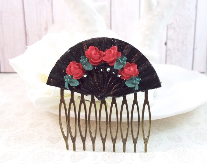 Floral Black Red Rose Fan Salsa Bronze Wedding Hair Comb - Split Personality Designs