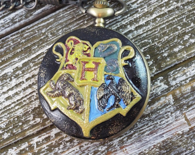Hogwarts Houses Enameled Pocket Watch - Gryffindor Ravenclaw Slytherin Hufflepuff