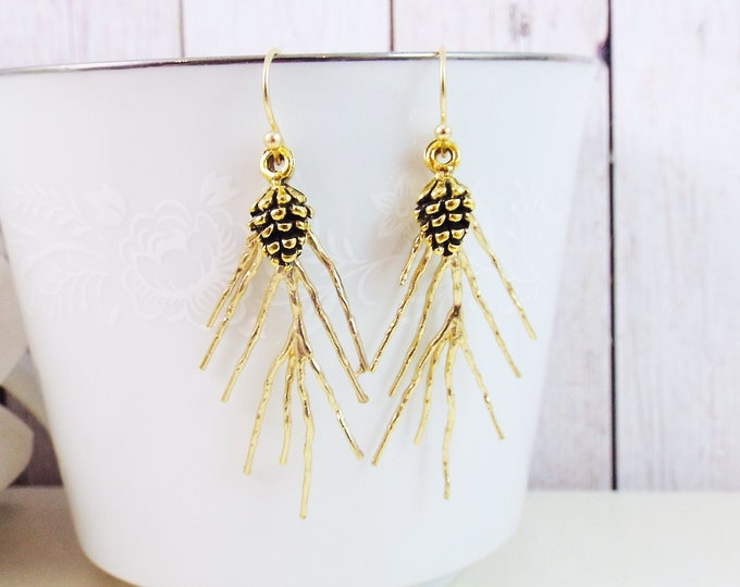 Gold Coniferous Pine Tree Pinecone Evergreen Needle Sprig Earrings