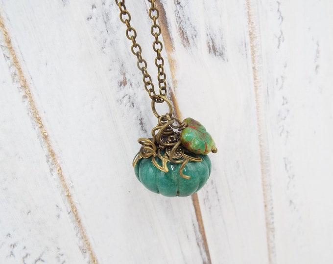Green Autumn Jade Pumpkin Pendant Fall Necklace - Secret Garden