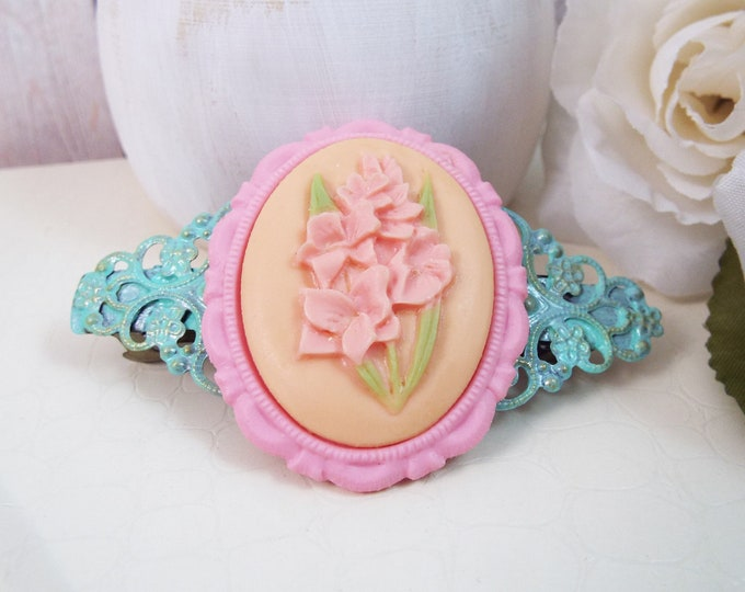 Gladiolus Peach Pink Mint Filigree Barrette - Bridal Barrette