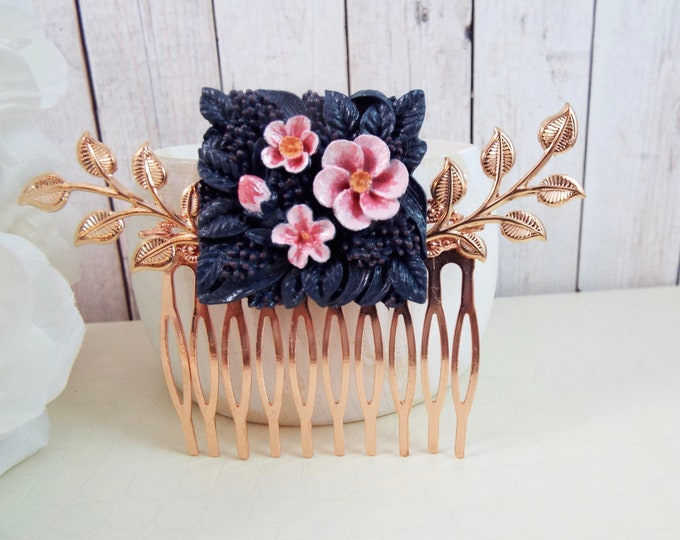 Tropical Hibiscus, Rose Gold Blush, Pink, Navy Flower Floral Hand Painted - Rowan Ash Tree Spray Bridal Comb, Modern Hawaiian Hair Accessory