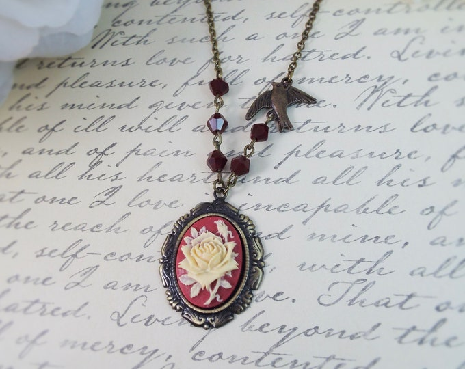 Victorian Deep Red Ivory Flower Cameo Pendant Necklace