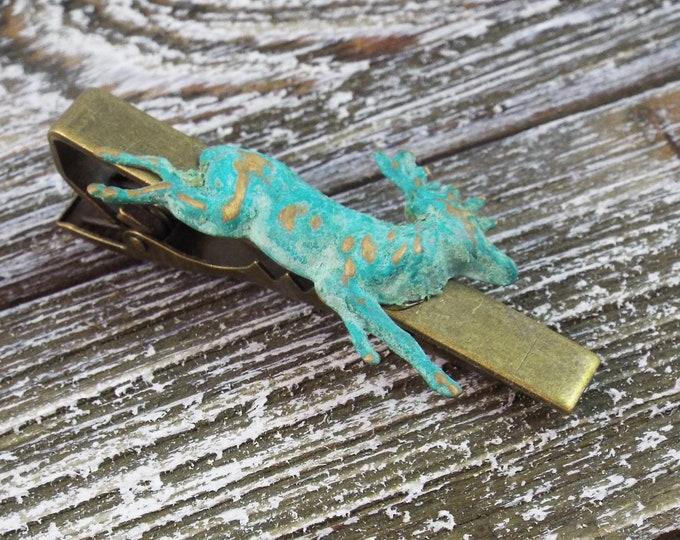 Verdigris Buck Deer Rustic Bronze Tie Bar Clip - Woodland - Men's Accessorries by Split Personality