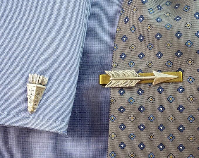 Silver Bronze Arrow & Quiver Cufflinks Tie Bar Clip - Men's Accessories by Split Personality