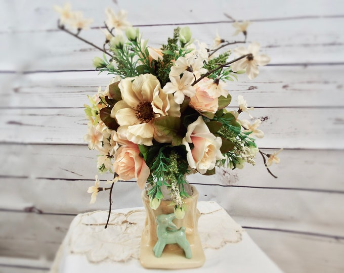 French Country Vintage Mint Green Peach Porcelain Vase Wedding Flower Floral Home Decor Centerpiece Nursery Bedroom - Boudoir Accessories